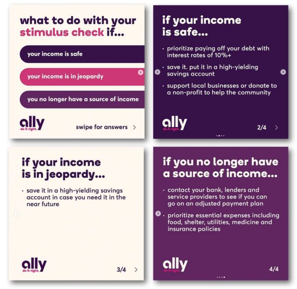 Ally Bank COVID stimulus financial marketing