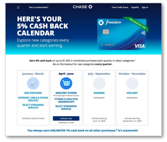 "Calendrier de cashback Chase ""width ="" 585 ""height ="" 499 ""srcset ="" https://thefinancialbrand.com/wp-content/uploads/2020/05/chase-cash-back-calendar-585x499.jpg 585w, https : //thefinancialbrand.com/wp-content/uploads/2020/05/chase-cash-back-calendar-300x256.jpg 300w, https://thefinancialbrand.com/wp-content/uploads/2020/05/chase- cash-back-calendar-485x414.jpg 485w, https://thefinancialbrand.com/wp-content/uploads/2020/05/chase-cash-back-calendar-768x655.jpg 768w, https://thefinancialbrand.com/ wp-content / uploads / 2020/05 / chase-cash-back-calendar.jpg 1200w ""tailles ="" (largeur max: 585px) 100vw, 585px"