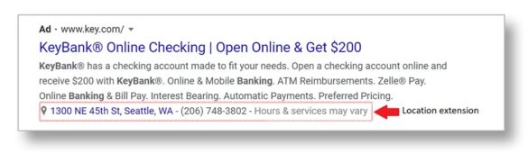 Keybank Google adwords ad brand example
