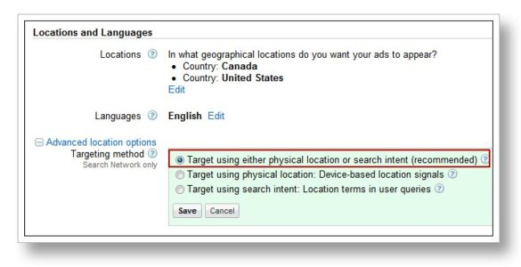 Location based targeting screen geotags