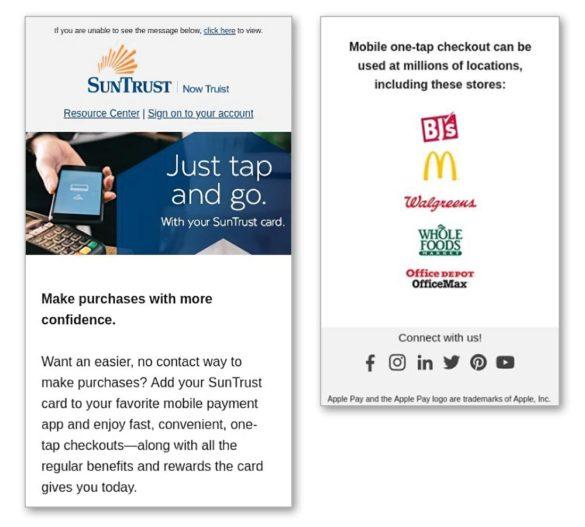 Email marketing Suntrust partner logos