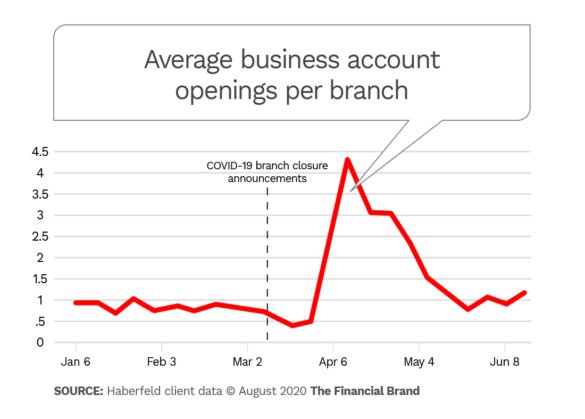 Average business account openings per branch