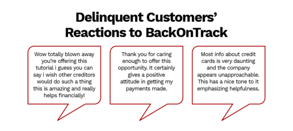 Deliquent customers reactions to BackOnTrack