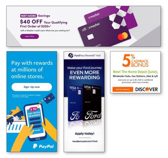 Credit card marketing Wayfair Ford Discover PayPal