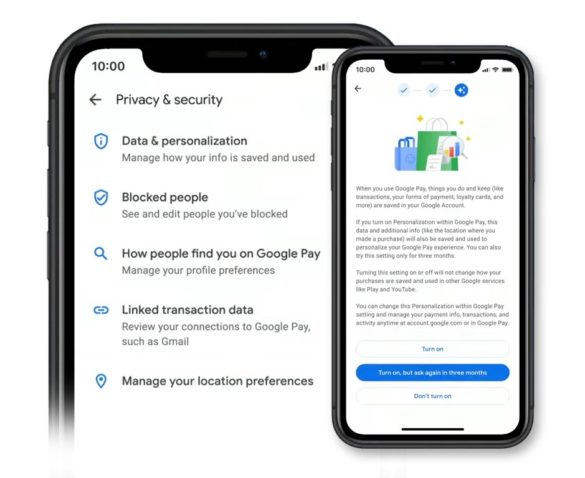 Google Pay personalization privacy settings