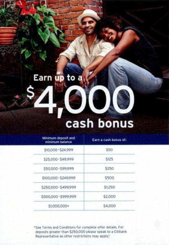 Citi 4000 cash bonus offer
