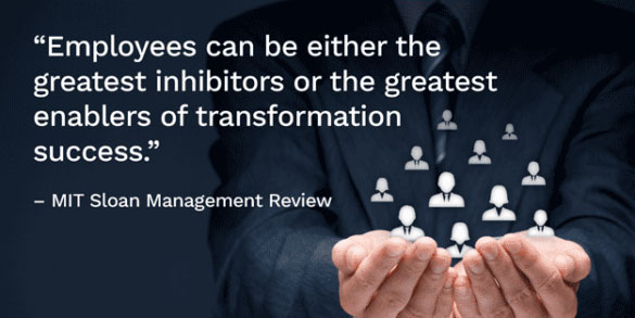 Quote from MIT Sloan - Employees can either be the greatest inhibitors or the greatest enablers of transformation success.