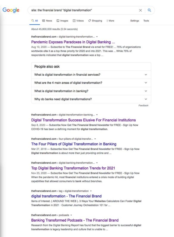 Site search for The Financial Brand