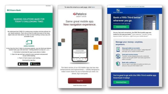 Mobile bank app marketing Citizens Bank Fifth Third Patelco