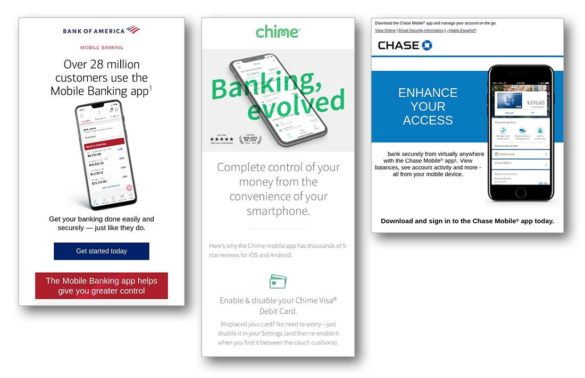 Mobile bank app marketing BofA Chime Chase