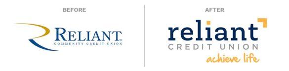 La Macchia Reliant Credit Union rebrand logos before after