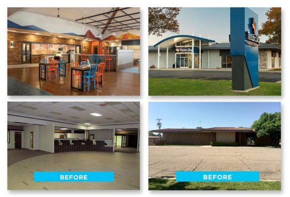 La Macchia Texas Sky Credit Union remodel before after