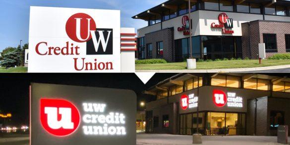 Adrenaline branch rebrand UW Credit Union sign