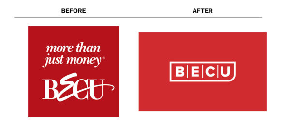 Banking rebrand BECU logo before after
