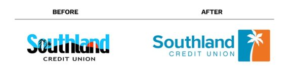 Banking rebrand Southland Credit Union before after