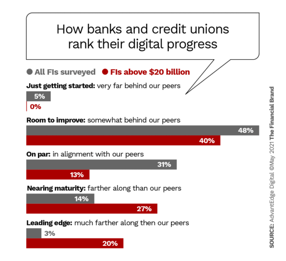 How banks and credit unions rank their digital progress