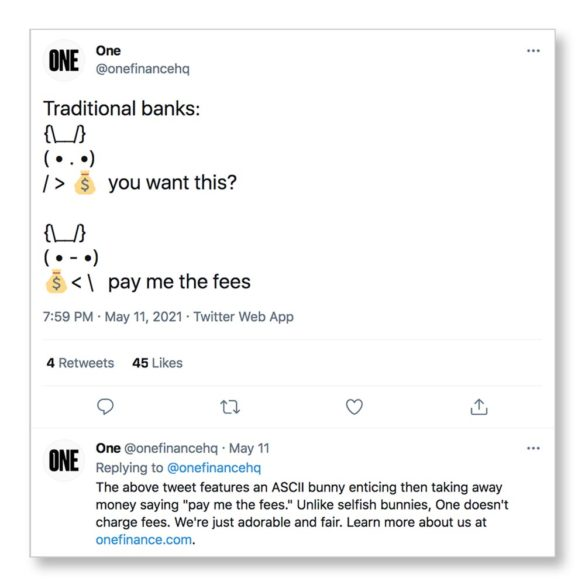 One Financial bad banker ascii bunny pay me fees