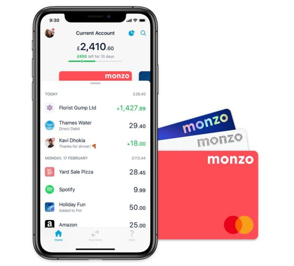 Monzo bank account phone app and debit cards
