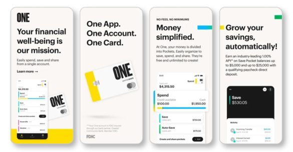 One Not A Bank mobile app screens