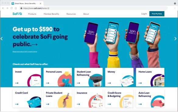 SoFi website homepage one-stop Fintech