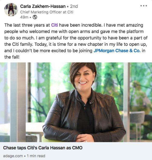 Carla Zakhem-Hassan LinkedIn Citi announcement