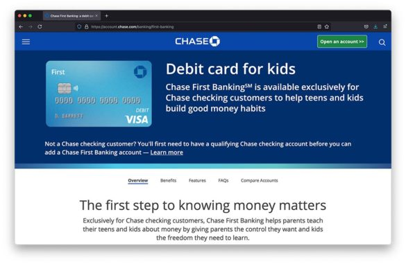 Chase debit card for kids webpage
