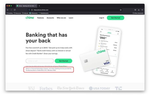 Chime financial technology company not a bank