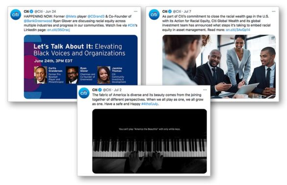 Citi promomotes racial equity on Twitter