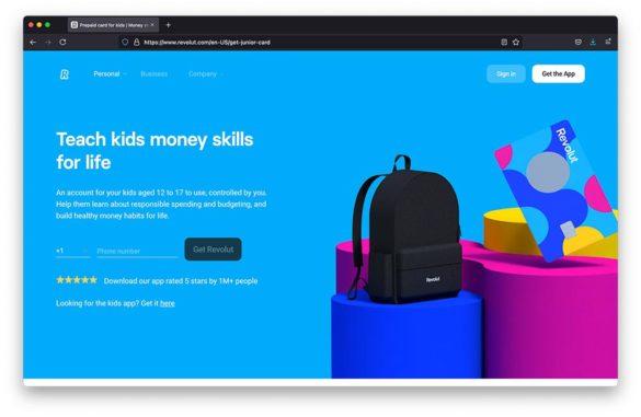 Revolut kids banking webpage