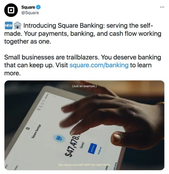 twitter introducing Square Banking launch