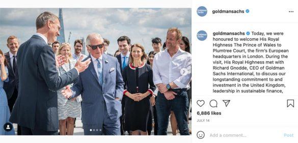 Goldman Sachs Instagram Prince of Wales