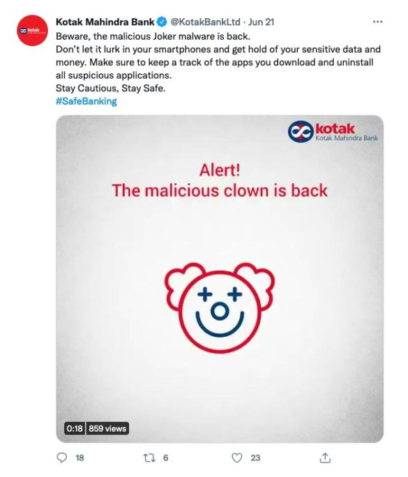 Kotak malicious clown social media malware tweet