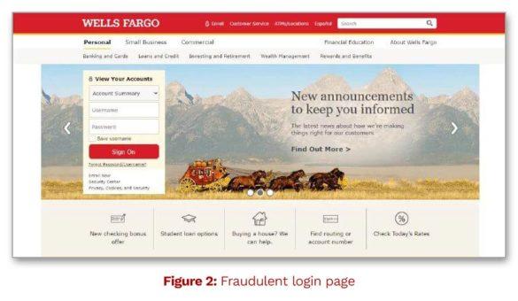 wells fargo fraudulent home page