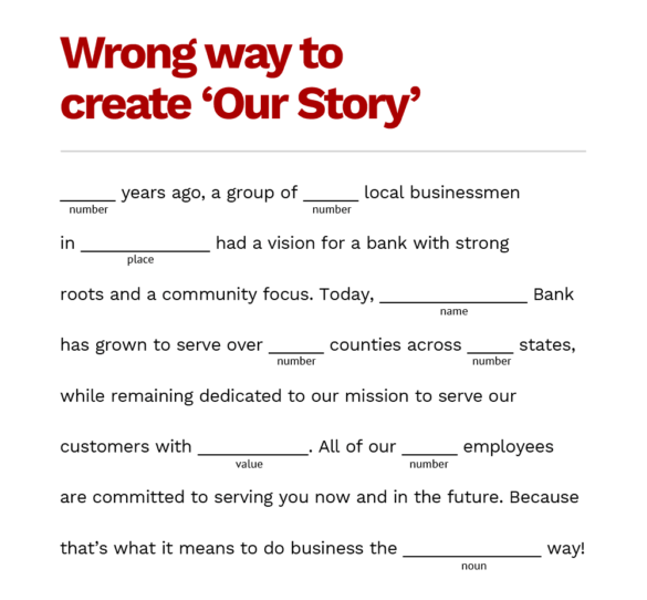 wrong way to create our story