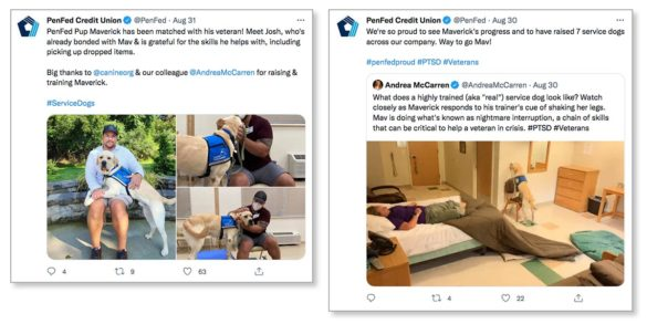 PenFed twitter veteran and service dog