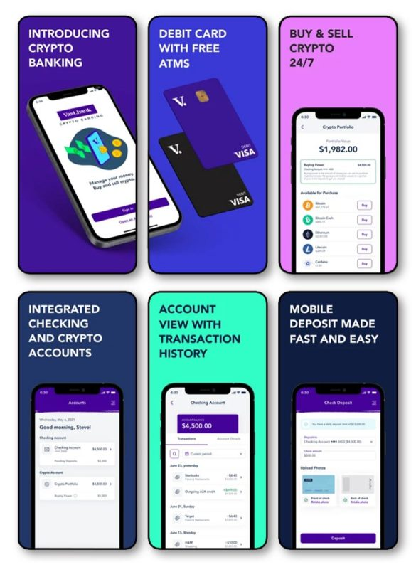 Vast bank crypto banking mobile app?