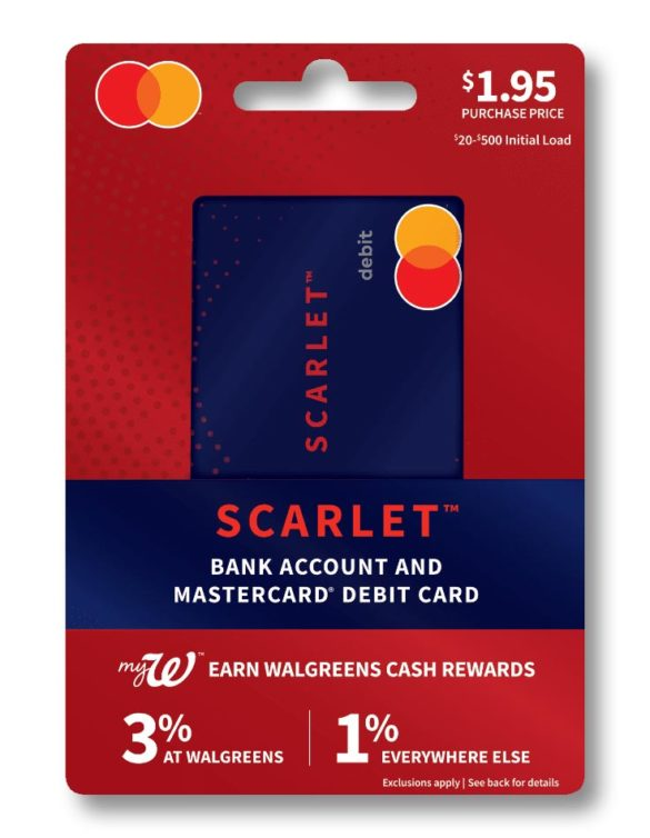 Walgreens Scarlet bank account and off the rack debit card packaging