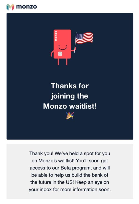 Monzo email waiting list
