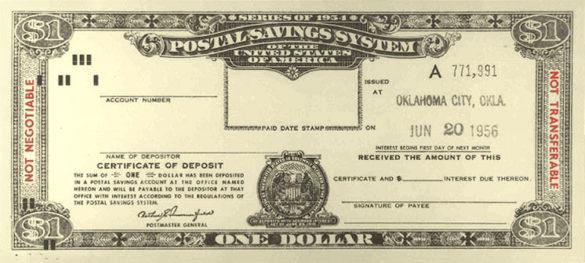 USPS postal savings system CD 1954 one dollar